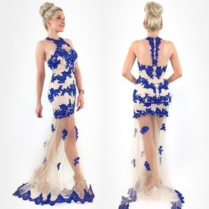 Nude Illusion Lace Evening Gown Prom Pageant Dress